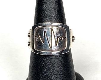 Handmade screen static sterling silver ring