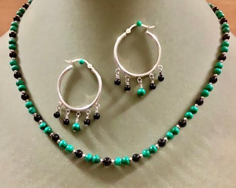 Malachite, onyx and sterling silver necklace and earrings