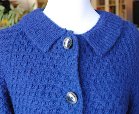 Blue hand knit sweater coat from the 1950's