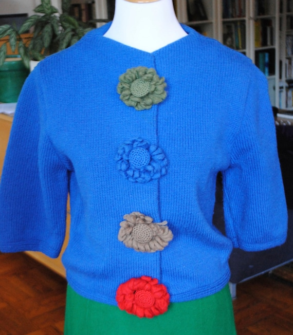 Vintage 1950's Hand Knit Blue Sweater with Handmad