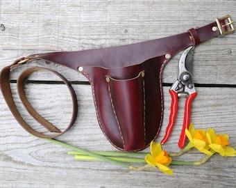 Burgundy Gardener's Tool Belt. Leather garden tool belt. tool belt. floral belt. gardening belt. garden belt. florist belt. handmade leather