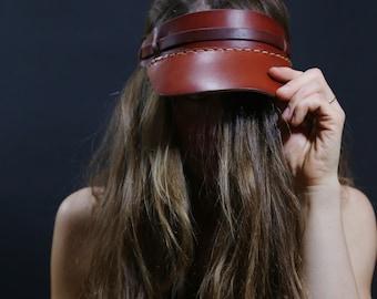 Handmade leather visor. Vegetable tanned leather visor. Leather hat. Visor hat. Visor for men. Visor for women.