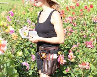 Brown Gardener's Tool Belt. Leather garden tool belt. tool belt. floral belt. gardening belt. garden belt. florist belt. handmade leather
