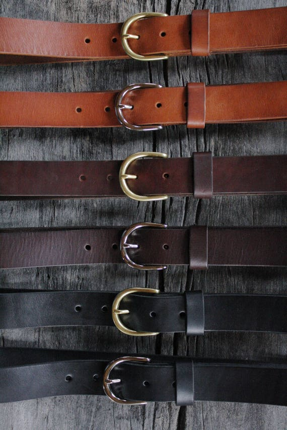 1.25 in 4 Colors Leather Handcrafted Men/'s Dress Belt w//Brass Buckle