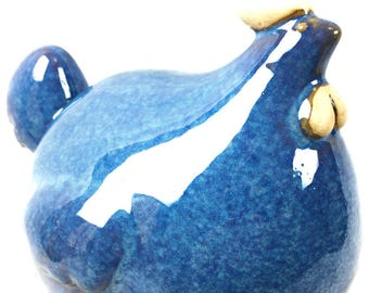 Blue Glazed Pottery Chicken