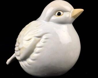 Large Ceramic Bird Figurine Glazed Creamy White