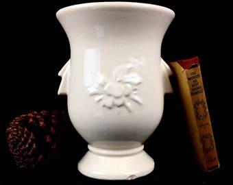 Vintage McCoy Cardinal Vase Glazed Creamy White