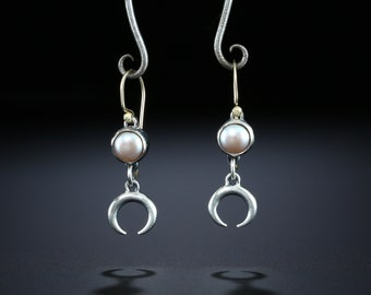 Pearl and Crescent Drop Earrings