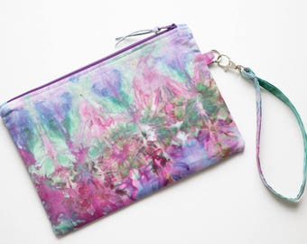 Hand Dyed Wristlet, Cotton Wristlet, Clutch Purse, Evening Handbag