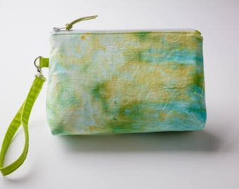 Wristlet, Hand Dyed Purse, Summer Handbag, Makeup Pouch, Essential Oil Pouch