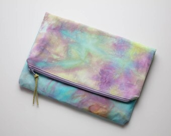 Clutch Bag - Hand Dyed Clutch - Evening Bag - Clutch Purse - Foldover Clutch - Zipper Bag - Purple - Turquoise -