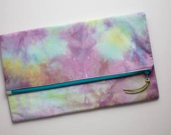 Clutch Purse - Hand Dyed - Clutch Bag - Evening Clutch - Zipper Clutch - Foldover Clutch - Unique Handbag - Oversized Clutch - Turquoise