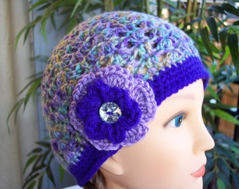 Woman's Crocheted Beanie in Pretty Purples