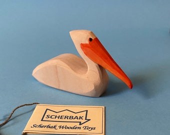PELICAN swimming bird, hand painted, WALDORF wooden TOY figure, made with love!