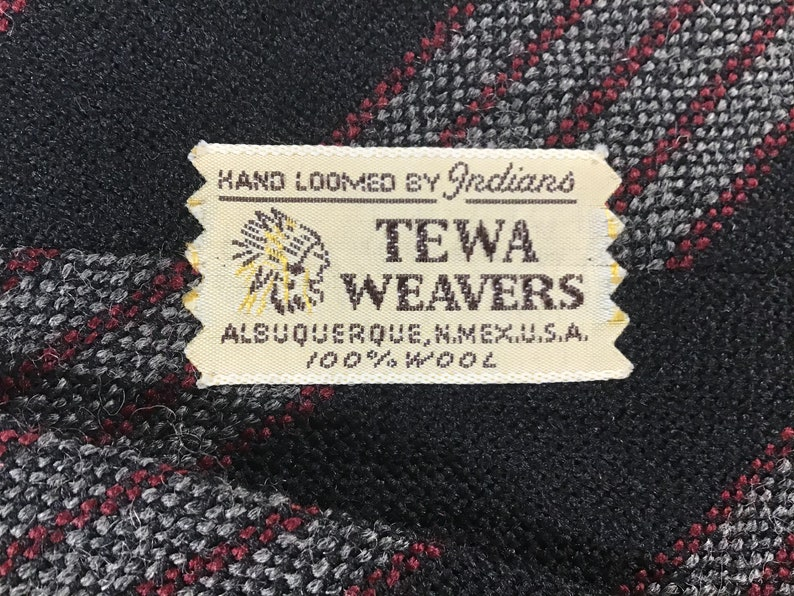 Blue wgray and red stripes fringed ends Vintage Tewa Weavers Neck Tie 100/% Wool /& Hand Loomed in Albuquerque NM by Indigenous Tribe