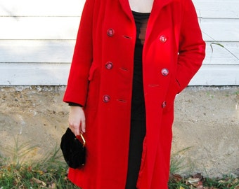 Vintage 1960s/70s Doby Original Lipstick Red Long Coat