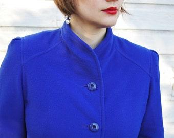 Vintage Electric Blue Faux Cashmere Long Coat