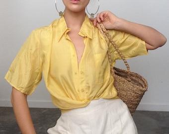 6712a555bbdc23 French Sunshine Silk Lounge Blouse