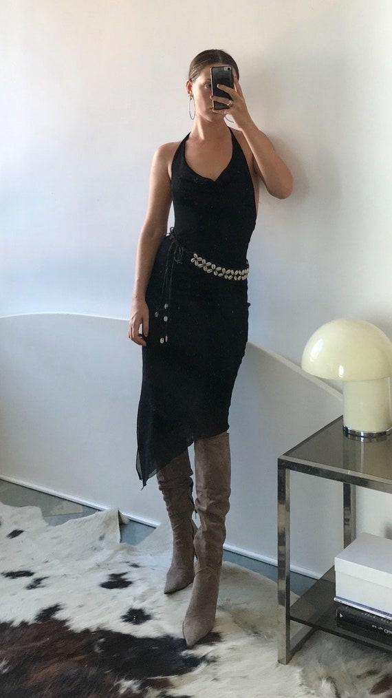 Cowl Neck Mesh Halter Dress - image 2