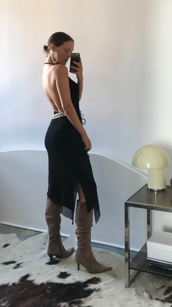 Cowl Neck Mesh Halter Dress - image 1