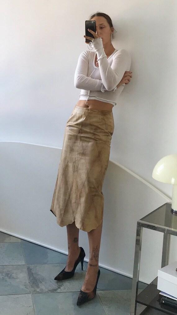 Harlequin Italian Leather Skirt