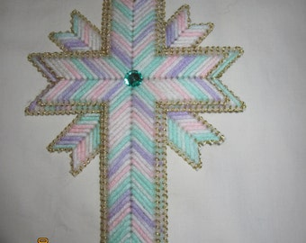 3 pastel needlepoint crosses