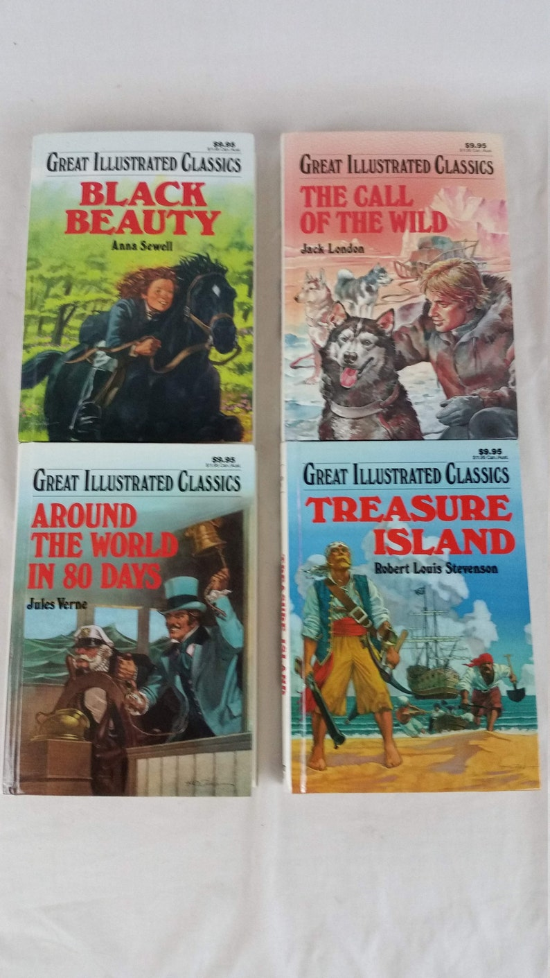 4b36ddf5d007 Lot of 4 Great Illustrated Classics Books - Call of the Wild, Black Beauty,  Treasure Island, Around the World in 80 Days