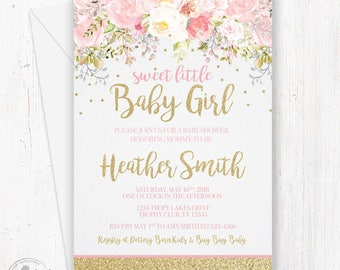 Baby shower invitation girl etsy baby shower invitation girl blush pink gold glitter invite baby girl shower whimsical floral invitations gold glitter and pink flowers filmwisefo
