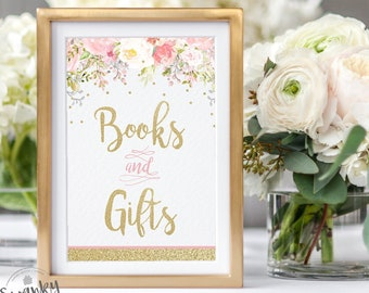Floral Books and Gifts Sign, Printable Baby Shower, Floral Baby Shower Decor, Book Table Sign, Pink and Gold, Gold Glitter, Instant Download