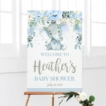 Elephant Baby Shower Welcome Sign, Personalized Boy Shower Sign, Customized Sign, Blue and Silver Welcome Poster, Boy Shower, Printable File