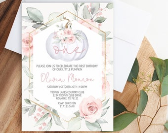 EDITABLE Pumpkin First Birthday Invitation Floral Pink and Gold Girl Pumpkin 1st birthday Invite Pink Fall Autumn Instant Download Template