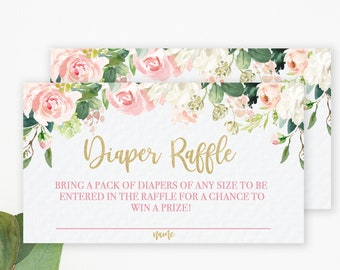 Pink Floral Diaper Raffle Ticket, Foral Diaper Raffle Insert, Pink Flowers, Boho Diaper Raffle Ticket, Printable, Instant Download