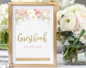 Baby Shower Guest Book Sign, Printable Guest Book Sign, Blush Pink Floral, Pink Floral Baby Shower, Printable, Instant Download, PF1
