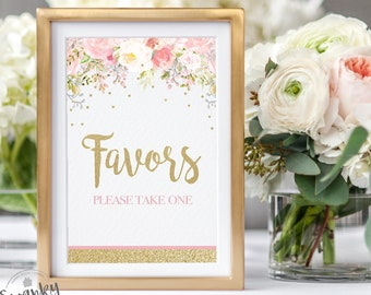 Favors Please Take One, Favors Sign for Baby Shower, Floral Baby Shower, Pink and Gold, Pink Floral Baby Shower, Printable, Instant Download