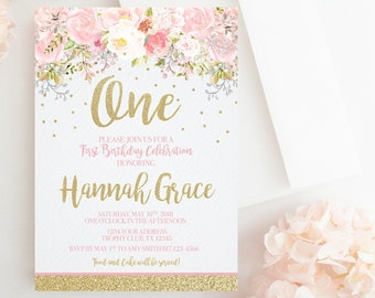 Blush Pink And Gold First Birthday Invitation Floral Girl Rose 1st