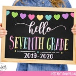 Hello Seventh Grade Sign, First Day of 7th Grade, Printable First Day of School Sign, Chalkboard Sign, Seventh Grade Sign, Instant Download