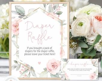Blush Pink Floral Baby Shower Diaper Raffle Sign and Raffle Tickets, Editable Sign and Tickets, Girl Baby Shower, Boho Floral Shower
