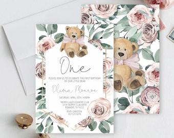 Editable Boho Bear First Birthday Invitation, Our little Bear Birthday Invitation, Dusty Rose Girl First Birthday Invitation, Editable