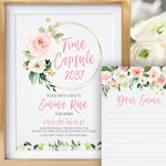 First Birthday Time Capsule Sign and Cards, Printable Time Capsule Sign Girl, Floral First Birthday, Floral Wreath Sign, Boho Floral Sign