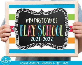 First Day of Play School Sign Printable, Boy Play School Sign, First Day Photo Prop, Chalkboard Sign, 1st Day of Day School, 2021 STR21