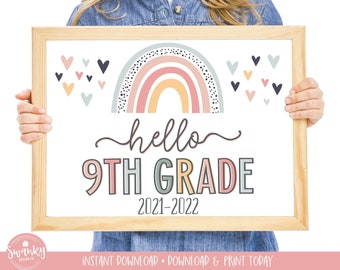 Boho Rainbow Hello 9th Grade Sign, First Day of Ninth Grade Girl Sign, Printable School Sign Freshman First Day Sign, Instant Download HBR21