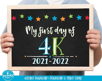 First Day of 4K Sign Printable  Back To School Sign, 4K First Day of School Chalkboard Sign, 4K Kindergarten Boy Sign 2021, STR21