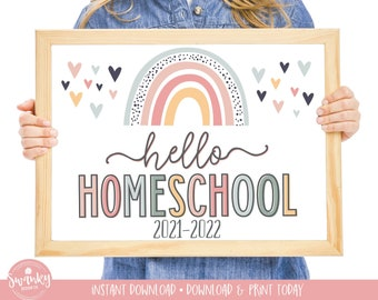 Boho Rainbow Hello Homeschool Sign, First Day of Homeschool Girl Sign, Printable School Sign Girl First Day Sign, Instant Download HBR21