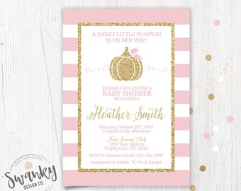 Pumpkin Baby Shower Invitation, Pink and Gold Baby Shower Invitation, Fall Baby Shower Invitation, Little Pumpkin, Fall Girl Baby Shower