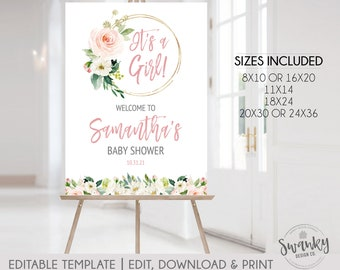 Editable Boho Chic Floral Baby Shower Welcome Sign, Printable Welcome Sign, Personalized Shower Welcome Sign, Customized Baby Shower Sign