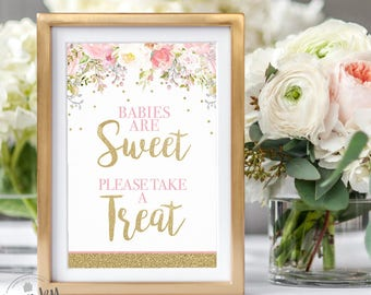 Blush Pink and Gold Sweet Treat Sign, Floral Baby Shower Decor, Babies are Sweet, Please Take a Treat Sign, Printable, Instant Download