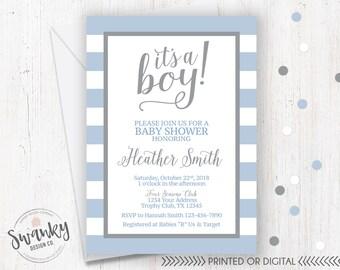 Black And Gray Baby Shower Invitation Its A Boy Black Etsy