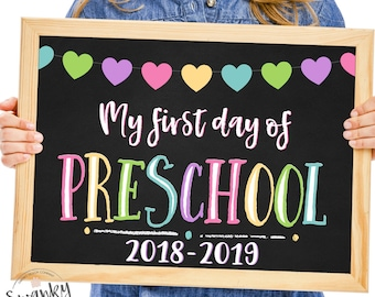 first day of preschool sign printable first day school sign back to school sign preschool sign chalkboard sign 2018 instant download