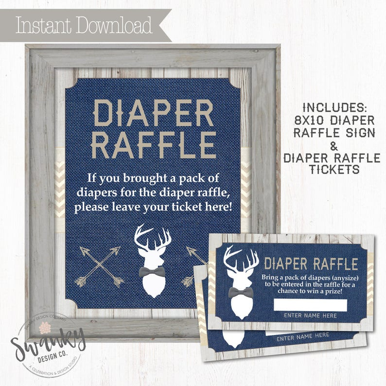 Rustic Deer Baby Diaper Raffle Tickets Navy and Burlap Gray image 0