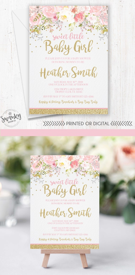 Baby Shower Invitation Girl Blush Pink Gold Glitter Invite Etsy